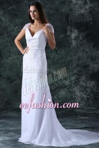 Column V-Neck Cap Sleeves Brush Train Zipper Up Chiffon Wedding Dress