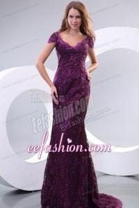 Column V-neck Short Sleeves Appliques Brush Train Prom Dress in Purple