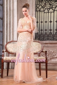 Column V-neck Sweep Train Wedding Dress with Appliques and Beading