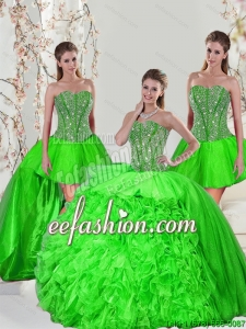 Custom Made Beading and Ruffles Quince Dresses in Spring Green for 2015