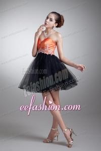 Cute A-line Sweetheart Orange Mini-length Tulle Appliques Prom Dress