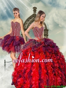 Detachable and Beautiful Beading and Ruffles Multi Color Quince Dresses for 2015