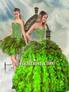Detachable and Discount Beading and Ruffles Multi Color Dresses for Quince