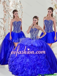 Detachable and Discount Beading and Ruffles Sweet 16 Dresses in Royal Blue for 2015