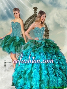 Detachable and Popular Multi Color Beading and Ruffles Sweet 15 Dresses for 2015