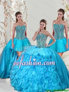 Detachable and Pretty Aqua Blue Sweet 15 Dresses with Beading and Ruffles for 2015