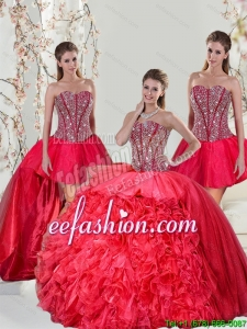 Detachable and Pretty Beading and Ruffles Red Quinceanera Dresses for 2015
