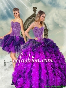 Detachable and Pretty Multi Color Sweet 16 Dresses with Beading and Ruffles for 2015