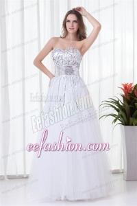 Elegant White A-line Sweetheart Tulle Floor-length Paillette Prom Dress