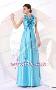 Empire Halter Baby Blue Floor-length Taffeta Hand Made Flowers Popular 2014 Prom Dress