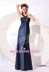 Empire Halter Navy Blue Beading Long Elastic Woven Satin Prom Dress