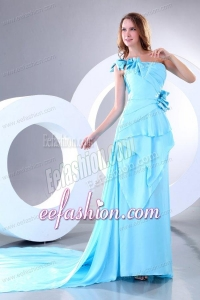 Empire One Shoulder Aqua Blue Watteau Train Prom Dress with Bowknot