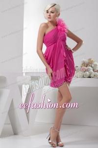 Empire One Shoulder Empire Hot Pink Chiffon Mini-length Prom Dress