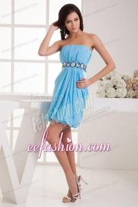 Empire Strapless Blue Chiffon Mini-length Prom Dress