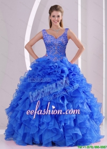 Exquisite and Pretty Beading And Ruffles Royal Blue Sweet 16 Dresses