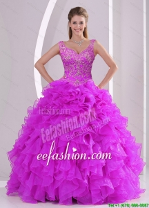Fashionable and Beautiful Fuchsia Quince Dresses with Beading and Ruffles