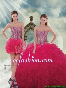 Fashionable and Discount Beading and Ruffles Red Sweet 16 Dresses