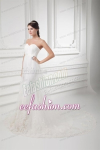 Gorgeous Mermaid Sweetheart Wedding Dress with Lace Chapel Train