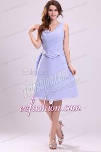 Lavender Chiffon Prom Dress with A-line V-neck Knee-length