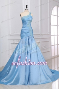 Light Blue Mermaid One Shoulder Prom Dress with Appliques