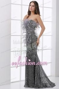 Mermaid Black Feather Strapless Sequins Brush Train Prom Dress