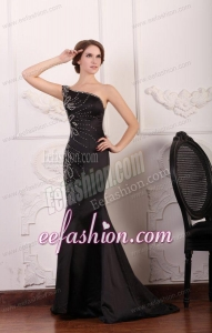 Mermaid One Shoulder Black Beading Taffeta Prom Dress