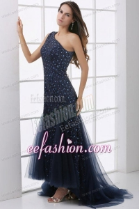 Mermaid One Shoulder Navy Blue Beading Tulle Prom Dress