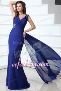 Mermaid Royal Blue V-neck Beading and Ruching Prom Dress