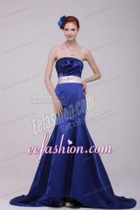 Mermaid Strapless Brush Train Navy Blue Taffeta Sashes Prom Dress