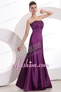 Mermaid Strapless Purple Floor-length Satin Prom Dress with Appliques