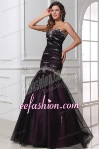 Mermaid Sweetheart Purple Tulle 2014 Perfect Prom Dress with Beading