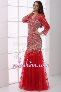 Mermaid V-neck Wine Red Beading Tulle Long Sleeves Prom Dress