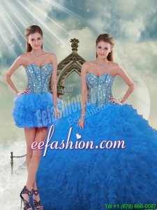Most Popular and Beautiful Aqua Blue Sweet 16 Dresses with Beading and Ruffles