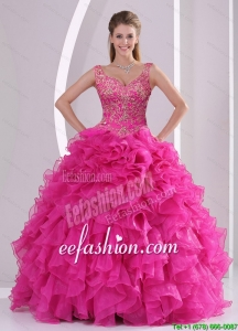New Style Hot Pink Quince Dresses with Beading and Ruffles for 2015
