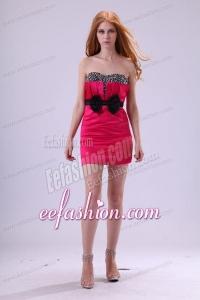Red Column Sweetheart Mini-length Taffeta Beading and Bowknot Red Prom Dress