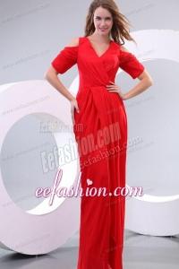 Red Column V-neck Floor-length Short Sleeves Prom Dress with Silt