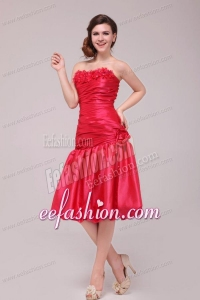 Red Mermaid Strapless Appliques and Ruching Prom Dress