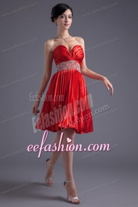 Red Princess Sweetheart Beading Taffeta Knee-length Prom Dress