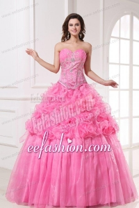 Rose Pink Sweetheart Appliques and Rolling Flowers Quinceanera Dress