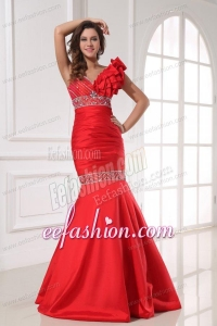 Sexy Mermaid One Shoulder Floor-length Beading Red Taffeta Prom Dress