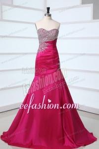 Side Zipper Beaded Sweetheart Mermaid Prom Dress in Hot Pink