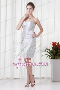 Silver Column Sweetheart Short Prom Dress with Beading and Ruching