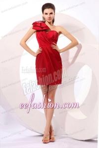 Simple Column One Shoulder Mini-length Bowknot Taffeta Red Prom Dress