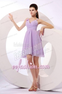 Simple Lilac Straps Prom Dress with Mini-length Chiffon