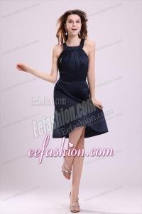 Simple Navy Blue Halter A-line Knee-length Ruching Taffeta Prom Dress