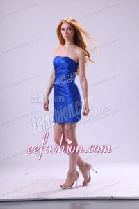 Strapless Royal Blue Prom Dress with Beaded Mini-length