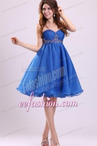 Sweetheart Beaded Short Blue Prom Dress with Knee-length