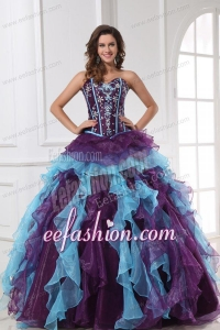Sweetheart Beading and Appliques Multi-color Quinceanera Dress