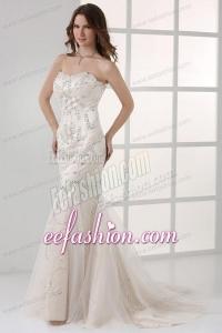 White Mermaid Sweetheart Court Train Prom Dress with Beading