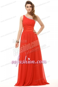 2014 Empire One Shoulder Chiffon Beading and Ruching Red Prom Dress